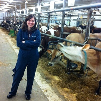 Emily (sporting Mac Farm coveralls)… and a very curious Jersey!