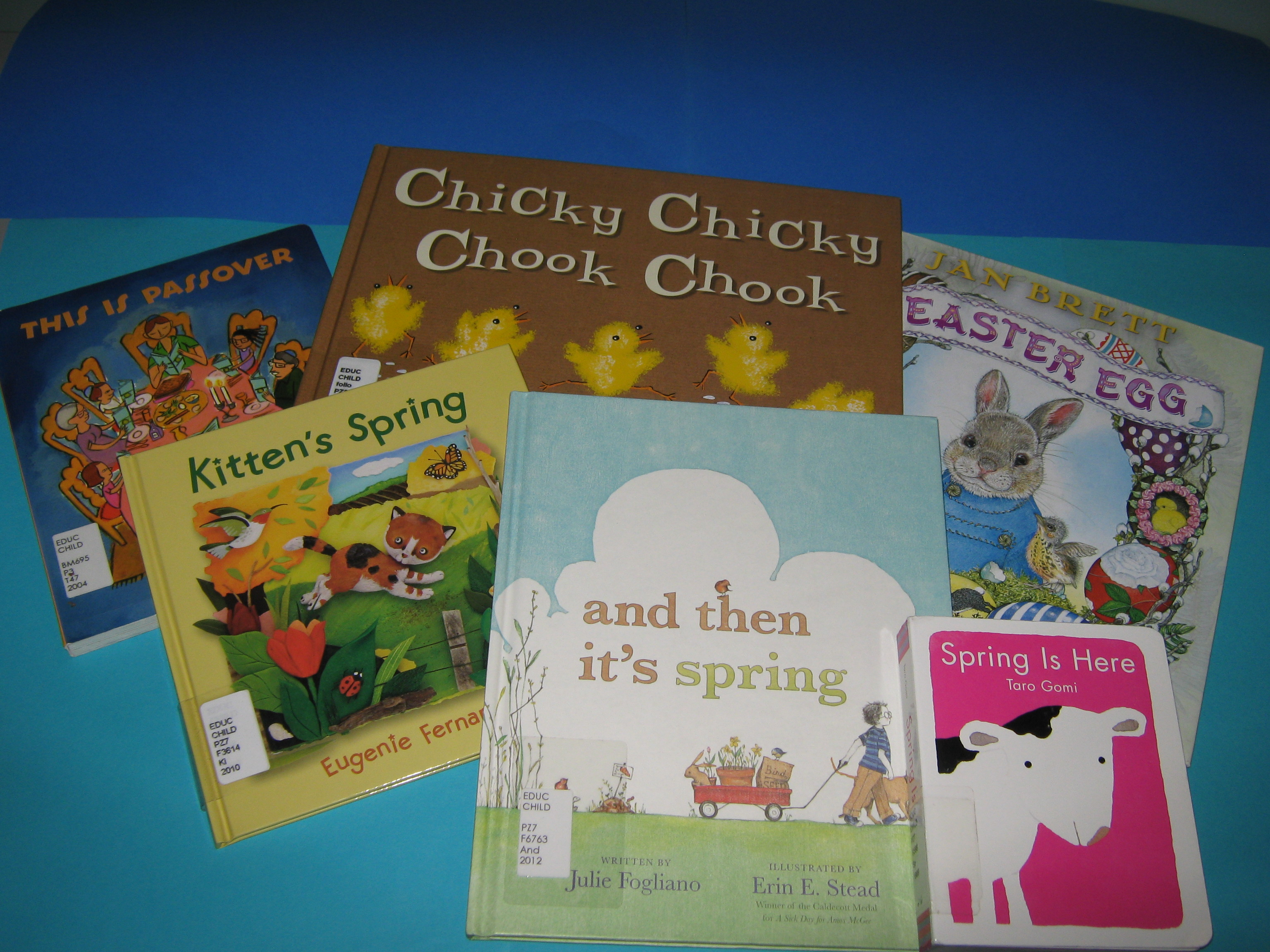An assortment of book about spring, Easter and passover available at the Education Library & Curriculum Resources Centre.