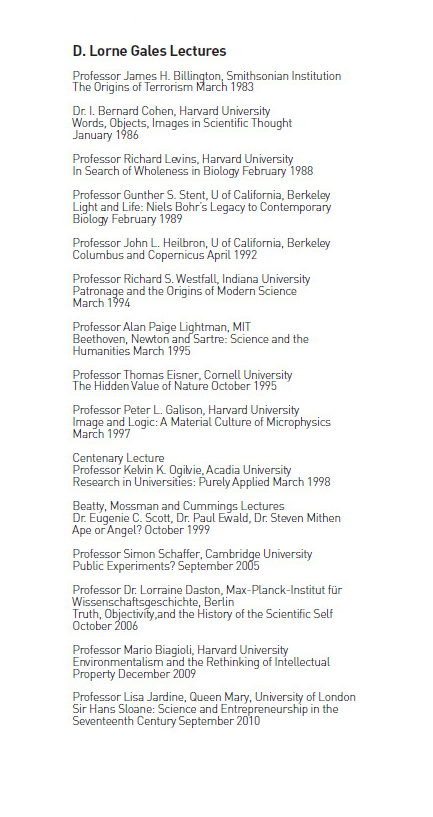 D. Lorne Gales Lectures