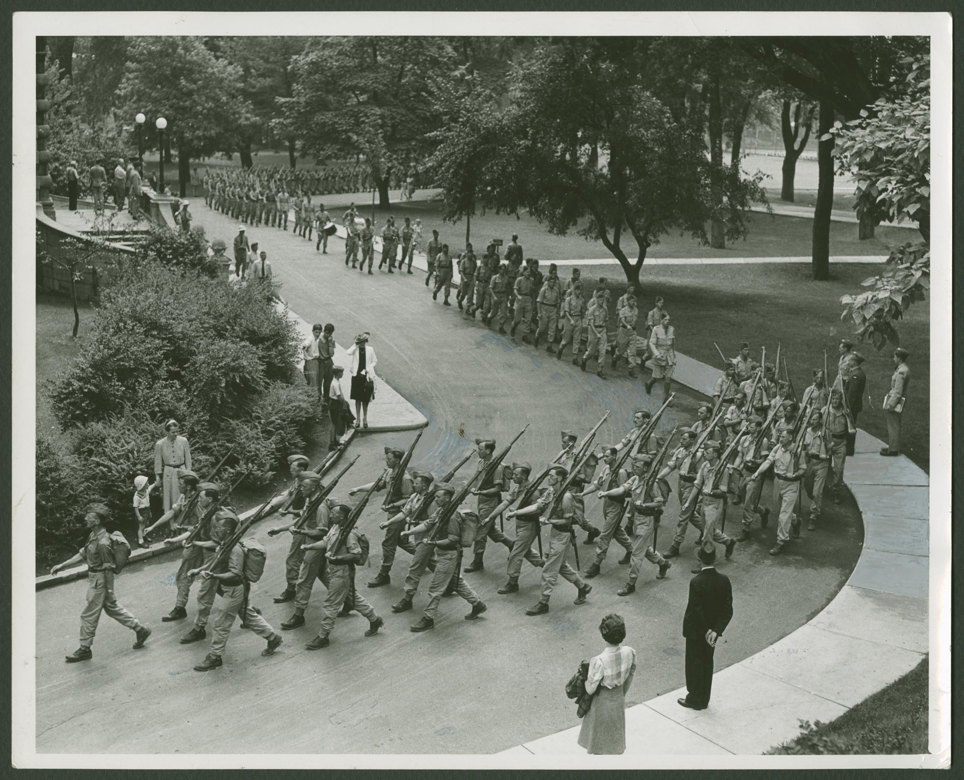 The McGill contingent of the Canadian Officers' Training Corps parading on lower campus in 1941 (Photo: McGill University Archives)