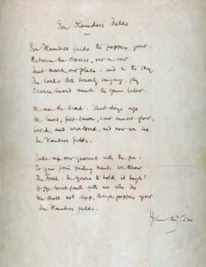 McGill Library's handwritten copy of the poem In Flanders Fields by John McCrae