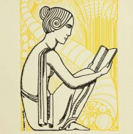 Drawing of a woman reading. Old McGill, 1931.