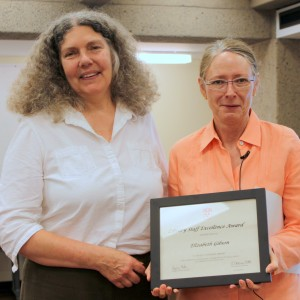 Elizabeth Gibson (left) with the 2014 Staff Excellence Award Photo credit: Merika Ramundo