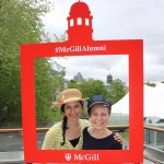 Masters students in Occupational Therapy Victoria Blais & Brittony Osler strike a pose in the terrace photo booth