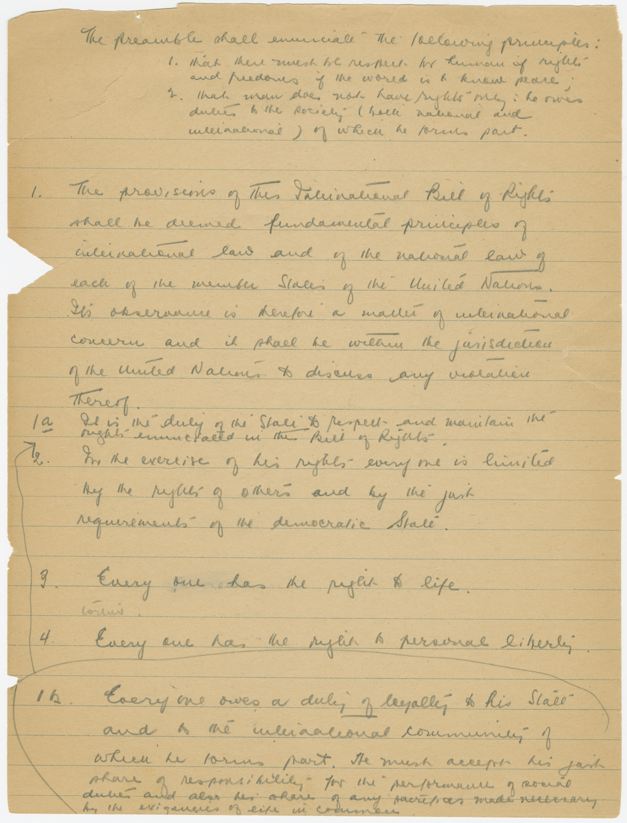mcgill s john peters humphrey s legacy work original draft of one of three pages from humphrey s draft of the declaration of human rights courtesy of