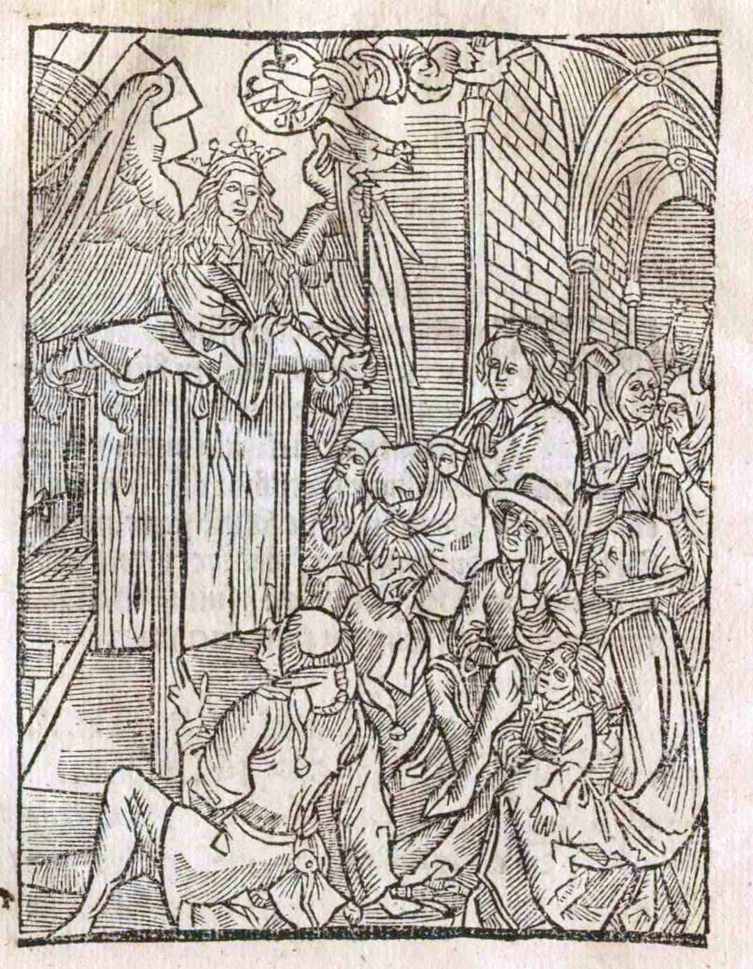 Full page woodcut illustration from the 1498 Dyalogus of Wisdom lecturing fools and the ignorant.