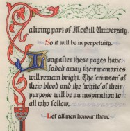 Detail from illuminated Book of Remembrance