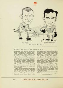 Caricature drawing of Frederick Wigle (left), Old McGill Yearbook, 1936, page 202.