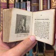 A tiny (60mm) book from our Sheila R. Bourke collection of children's literature! | Biography of eminent persons: alphabetically arranged | with portraits from drawings by Alfred Mills | London: printed for Darton, Harvey & Darton and J. Harris, 1814 | Sheila R. Bourke Collection PZ6 B56 1814 |