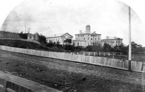 McGill University, circa 1860, looking north from what is now McTavish, including the observatory (left). The observatory was located where the current Leacock building now stands. PR013449, McGill University Archives