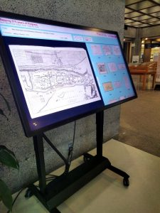 Touch table featuring digital map exhibition. Photo: Greg Houston