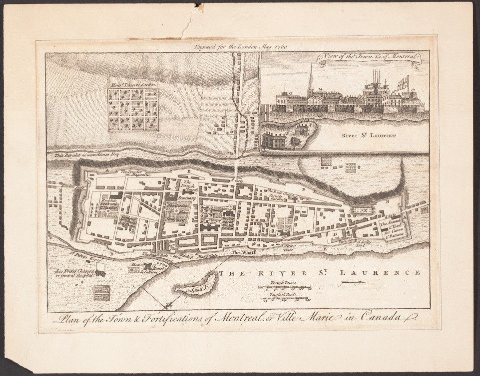 Plan of the town and fortifications of Montreal (or Ville Marie) in Canada (1760)