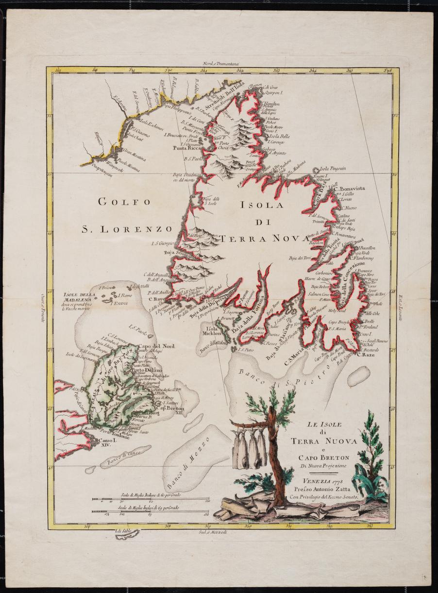 Le isole di Terre Nuova e Capo Breton, 1778