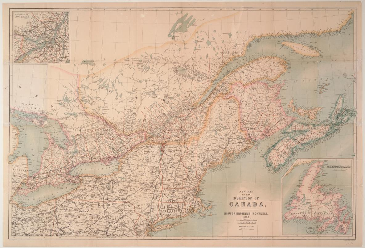 New map of the Dominion of Canada, 1868
