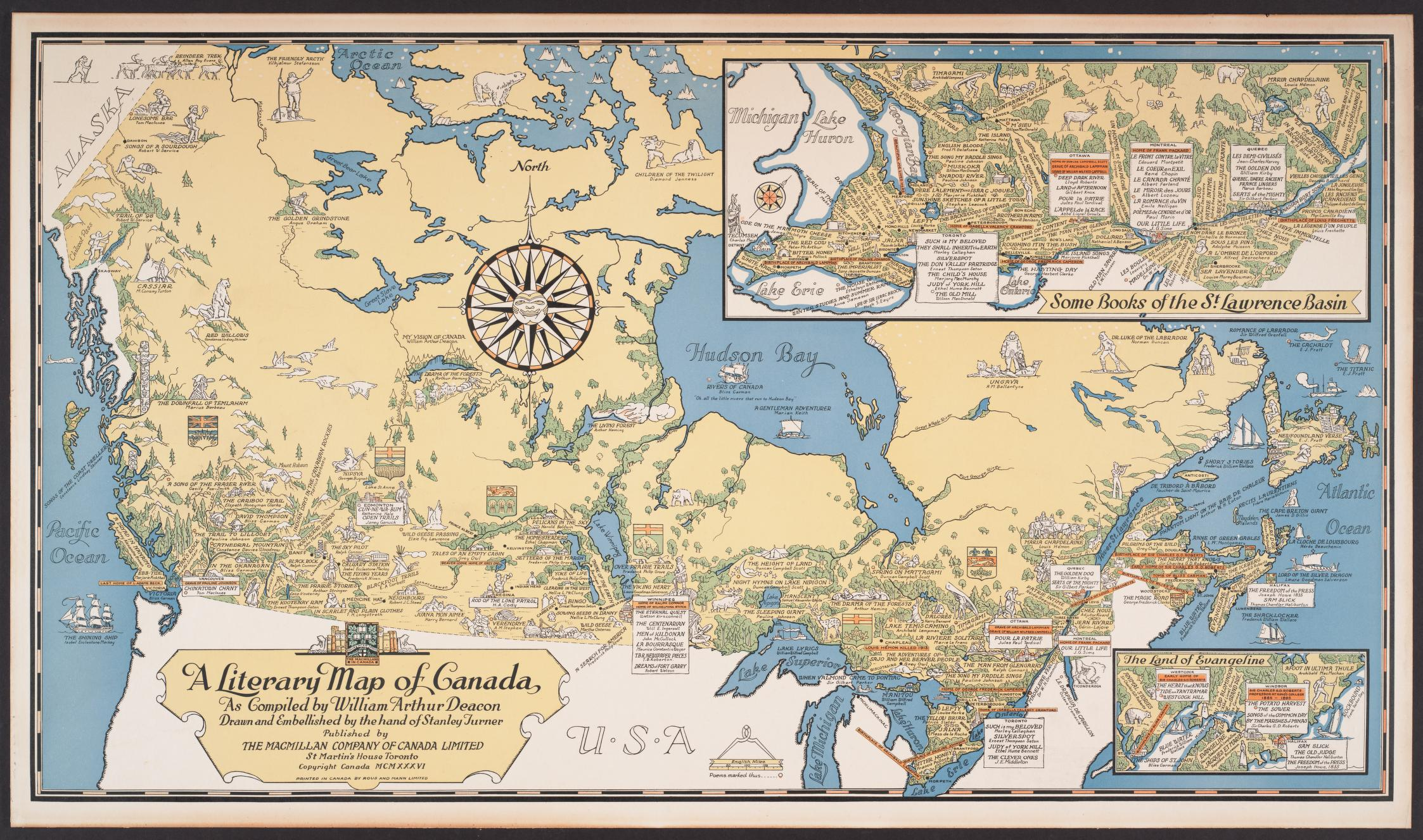 A literary map of Canada, 1936