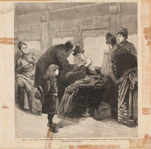 """The recent smallpox epidemic in Montreal – vaccinating American-bound passengers on a train of the Grand Trunk Railway,"" by Marvin James, photo-mechanical reproduction of a wood engraving (1885). Osler Library Prints Collection, OPF000001."