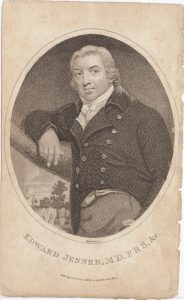 Stipple engraving of Edward Jenner by Mackenzie (London: T. Hurst, 1802). Osler Library Prints Collection, OP000643
