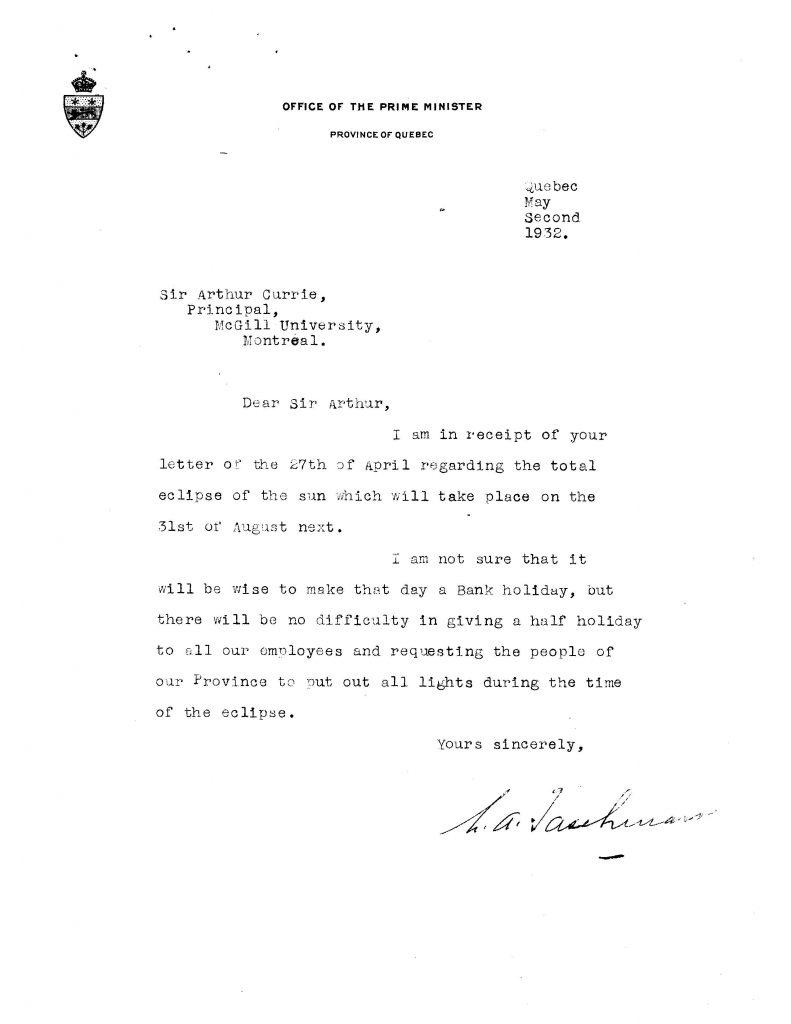 Response from Taschereau to Currie. Physics: Staff and 1932 Eclipse of the Sun, 1926-33, RG2 container 63 file 1109. McGill Univeristy Archives