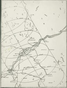 Map showing path across Quebec of the central shadow of the total eclipse of the sun. August 31, 1932. PR024753, McGill University Archives.
