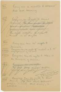 A page from Humphrey's draft of the Declaration of Human Rights. McGill University Archives, 1988-0102.01.1.T2