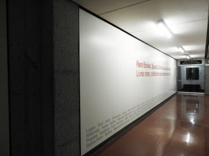 Figure 3: A detail of the hallway leading to the Rare Books, Special Collections, and Archives Reading Room in the McLennan Library, 4th Floor –the future home of a Visible Storage Gallery.