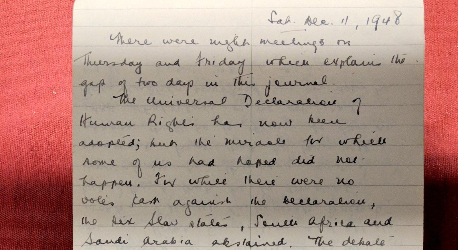 John Humphrey's diary entry, December 11, 1948. Credit: Jacquelyn Sundberg