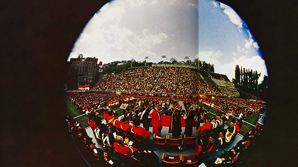Convocation ceremony, Molson Stadium, circa 1966. Old McGill Yearbook. Photographer unknown.