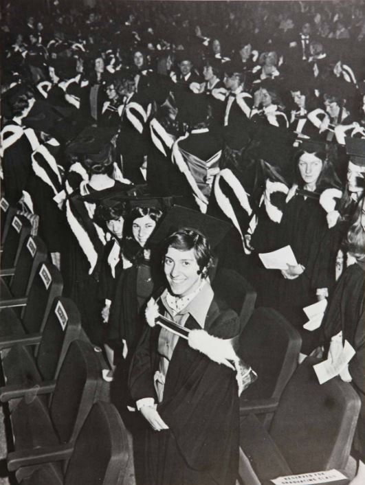 Convocation ceremony, circa 1979. Photographer unknown.