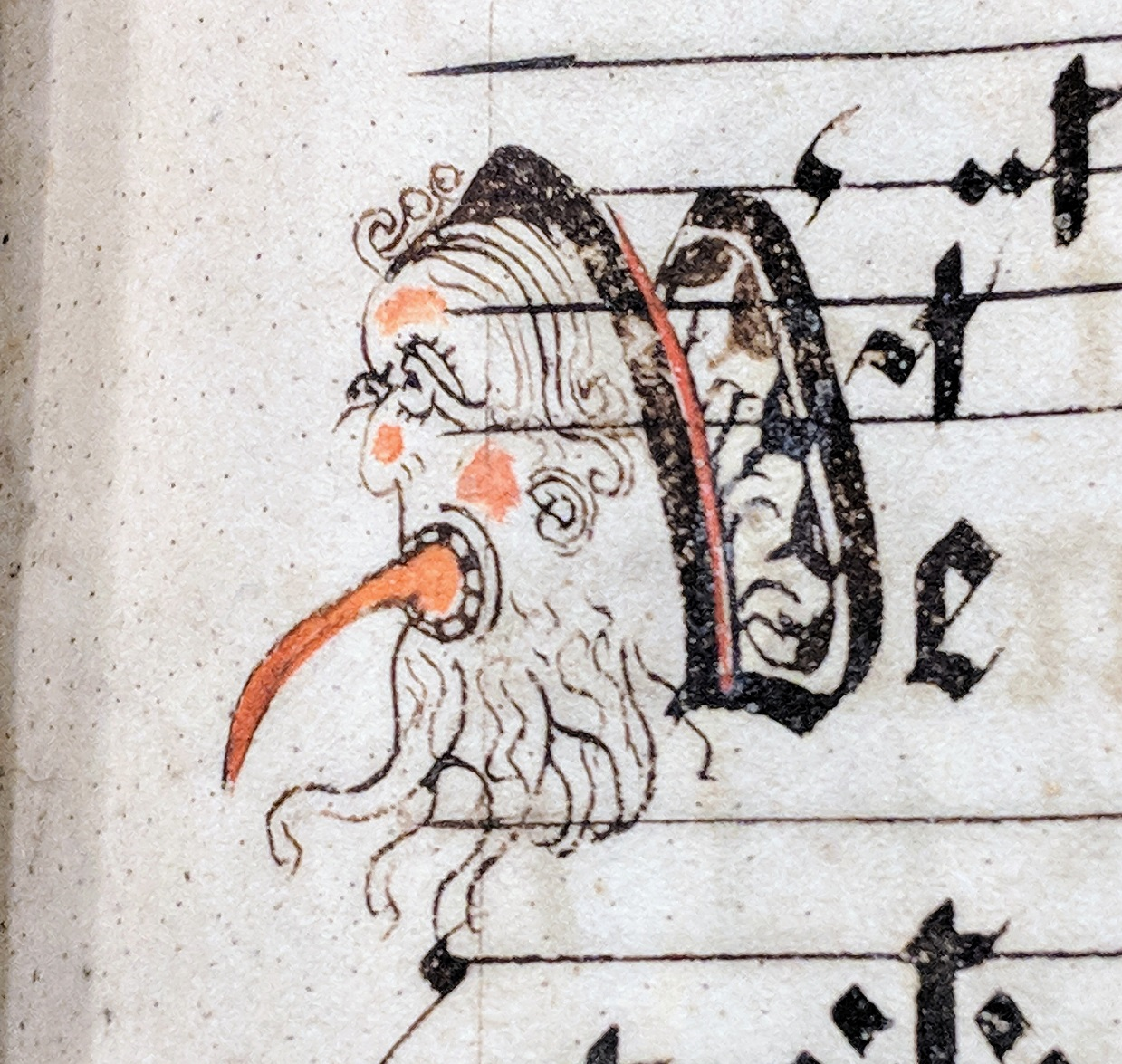 bearded man sticking out his tongue. Initial in a 15th Century german manuscript antiphoner.