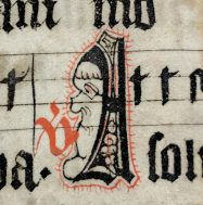 Tall and narrow man's face in Initial