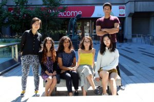 Summer Work Study students supported by the SSMU Library Improvement Fund. From L to R: Jia Yi, Alyanna Jamal, Apoorva Malepati, Lydia Gaougaou, Alice Tang, Ali Grewal