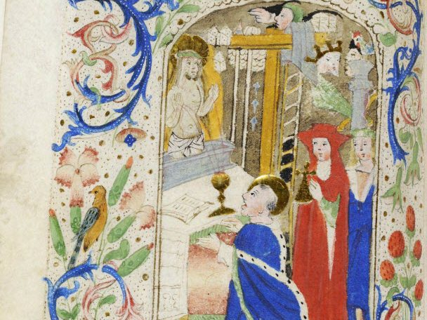 This manuscript is notable for the remarkable beauty of the illuminations in semi-grisaille and the freshness of scenes taken from real life. This book was for the liturgical use of the founder of the Brothers of the Common Life, Geert Groote, who translated the Office of the Virgin into Dutch in about 1385 and was the instigator of Devotio moderna. LVH.0038 MS 100. Hours for the use of Geert Groote Masters of Hugo Janszoon van Woerden. About 1490-1500, Leyden.