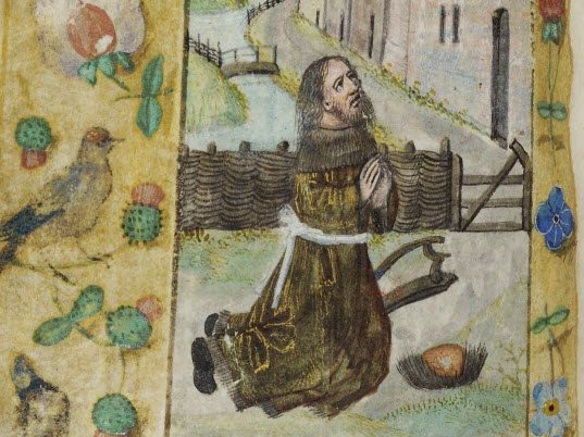 The images in this Book of Hours were painted by Cornelia van Wulfscherchke, a Carmelite nun in Bruges. Aware of the trends that were in fashion during her time, Sister Cornelia reproduced models but added her own touch, characterized by a certain liveliness and also by stocky figures with straight, flat noses and eyes reduced to black dots in a wide oval face. LVH.0040 MS 109. Officium beate Marie secundum usum Romanum Cornelia van Wulfscherchke (Carmelite) About 1500-1510, Bruges.