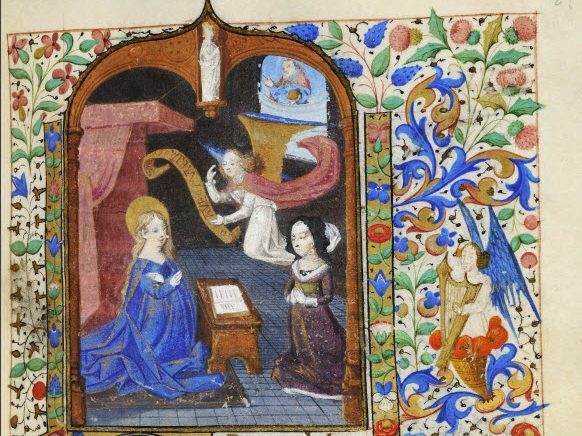 Going by the text marks and the portrayal of the sponsor, seen kneeling facing Mary in the Annunciation scene, this manuscript was executed for a woman. She seems to take precedence over the angel Gabriel who flutters above her. LVH.0042 MS 155. Rhodes Hours. Two artists in the Circle of the Master of Coëtivy. About 1460-1465, Paris.