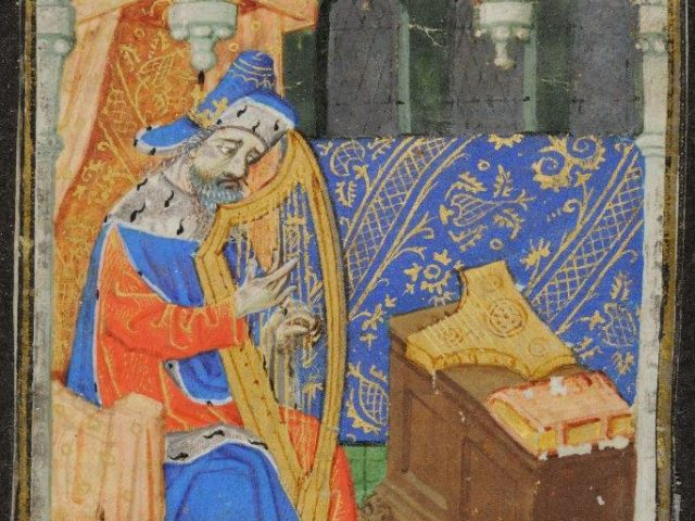 One of five images that illustrate the psalter of the breviary. This one shows David playing the harp (psalm 1). LVH.0022 MS102. Seven miniatures from a breviary Master of the Échevinage of Rouen. About 1470,