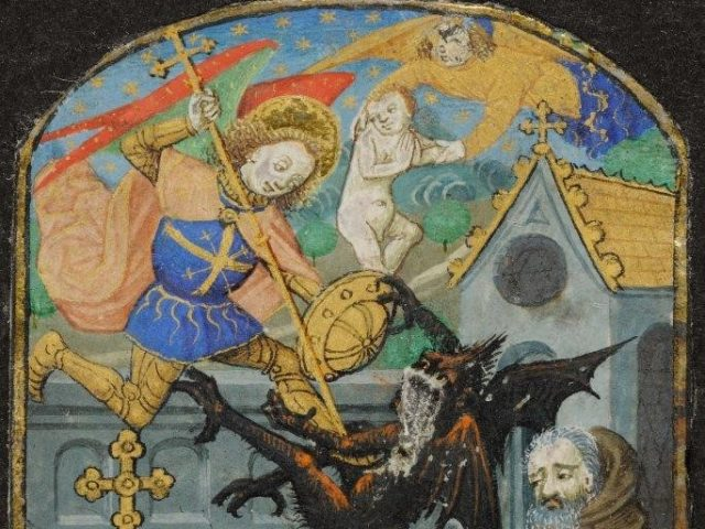 For the Office of the Dead, the artist painted a corpse in a cemetery above which Saint Michael and the Devil are fighting for the soul of the dead man, traditionally depicted as a baby. LVH.0028 MS 102. Seven miniatures from a breviary Master of the Échevinage of Rouen About 1470,