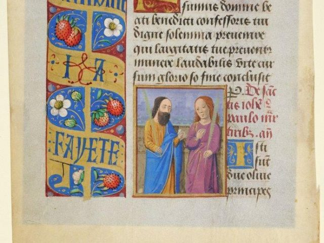 Books of Hours were sometimes personalized by inscribing in them the names of the owners' patrons. This personalized leaf marks the marriage of Jehan Drulhon, a citizen of Clermont in the Auvergne, and Antoinette Fayete. These names and the initials I A, linked by a love knot, are traced in black capitals. LVH.0013. 1-2 MS 105. Manuscript leaf of the Heures, dites de Drulhon-Fayete Master of Guillaume Lambert (and his workshop for the borders) About 1475-1480, Lyon.