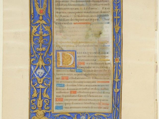 This leaf was clearly very costly and is evidence of the assimilation by Norman artists of some models of the Italian Renaissance. The recto, Parisian in style, is framed by a gilt border line imitating wood that surmounts a pattern of knots and arabesques. The illuminated border on the verso consists of an ornamental repertoire from the Italian Renaissance. LVH.0015 MS 110. Litanies and Office of the Dead Jean Serpin (?) About 1510-1520 (?), Normandy (Rouen?)