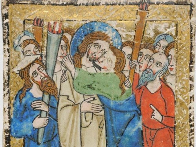 This intriguing leaf consists of two miniatures back to back but no text. The recto depicts the scene of the Arrest of Christ and the Kiss of Judas and the verso, almost entirely washed out, shows vestiges of the scene of Jesus before Pilate. LVH.0030 MS 161. Leaf from a manuscript psalter. Anonymous About 1235-1250, Augsburg. Recto featured above.