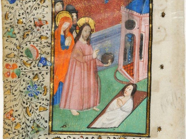 Christ has ordered the removal of the stone covering the tomb of his friend, who was buried four days earlier. The miniaturist has faithfully followed the gospel of Saint John the Evangelist but has added the orb in Christ's hand and omitted the bandages that were used to tie the hands of the dead man. LVH.0020 MS 189. The Raising of Lazarus and the start of the eve of the Office of the Dead Member of the Masters of the Gols Scrolls, a disciple of the illuminator of ms. Grisebach 4 of the Kunstbibliothek of Berlin About 1450, Bruges