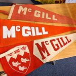 Archival McGill memorabilia, including flags