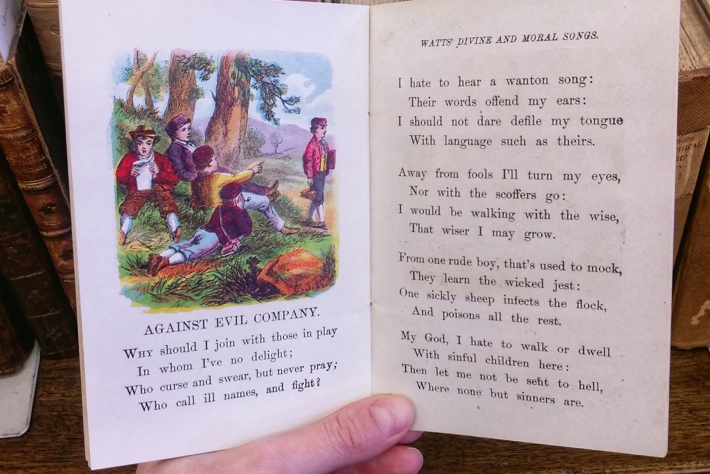 "Watt's Songs Against Evil (ca. 1850), a chapbook containing catchy ditties aimed at reminding children of the consequences awaiting those who are ""wicked"". PR3763 W2 W38 1850 - Sheila R. Bourke Collection."