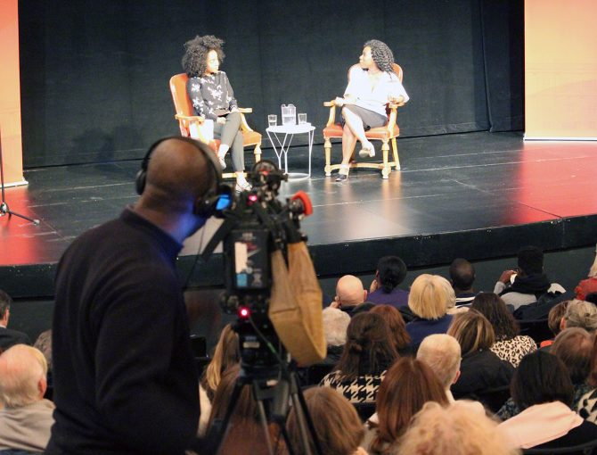 Amanda Parris and Esi Edugyan on stage at the 2019 MacLennan Lecture