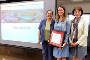 Last year's winner, Giovanna Badia (left), Katherine Hanz (middle) and Dean Colleen Cook (right)