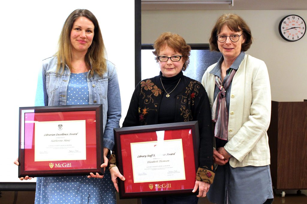 Award winners Katherine Hanz and Elizabeth Thomson with Dean Colleen Cook