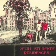 """Detail, cover Cover image, """"McGill Students' Residences"""" issued by the Publicity Committee of the McGill Centennial Endowment Campaign, 1920_c.4_B0032_f.6_McGill Students' Residences, McGill University Archives."""