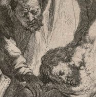 Etching by Rembrandt, The Descent from the Cross, 1633. 52.2 cm x 41 cm. McGill Print Collection, Rare Books and Special Collections, European Folio section.