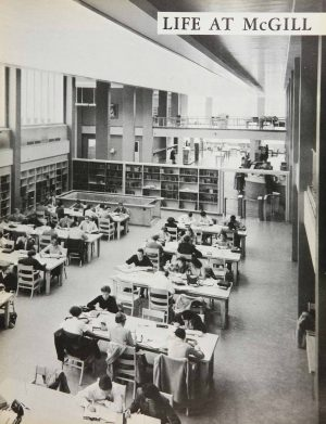 Life at McGill . Redpath Library Building Reading Room. Old McGill Yearbook, 1958.