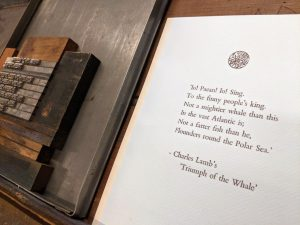 "One of the first prints produced by McGill's Columbian press is featured in the Bodleian Libraries' ""Very Like a Whale"" collaborative printing project. Photo: Merika Ramundo"