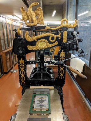 McGill's 1821 Columbian hand press . Photo: Merika Ramundo